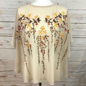 Vintage Hand Painted Sheer Floral Blossom Poncho